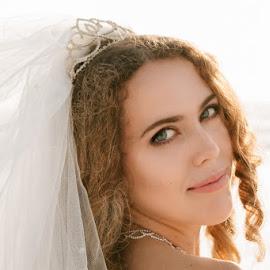 Wedding Glow  by Autumn Wright - Wedding Bride ( bride, love, wedding photography, pose, veil, beach, tiara )