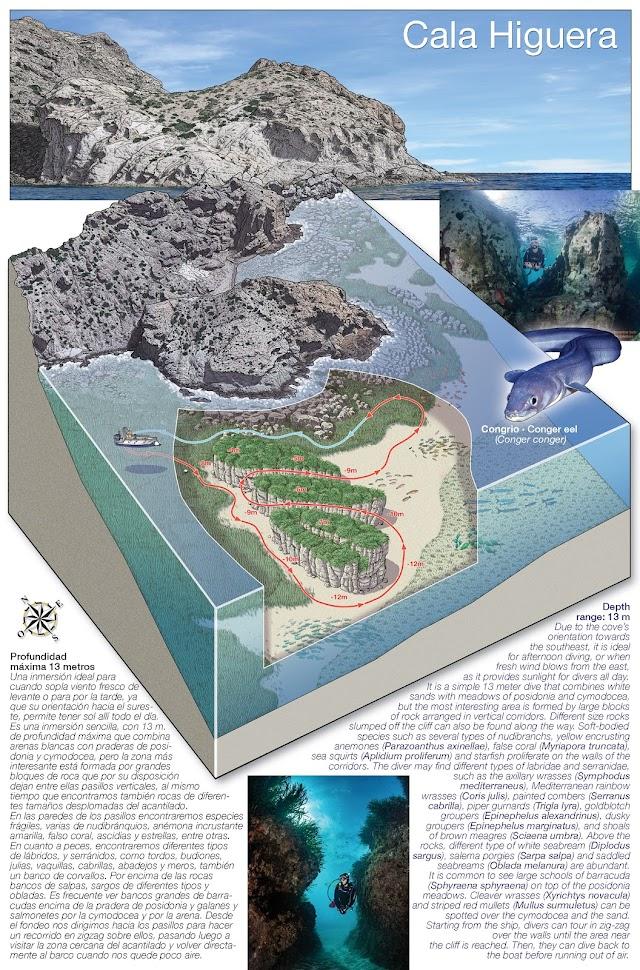 Mapa de la Costa de Almería para promocionar el turismo de Inmersión.