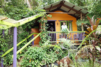 Photo: Our cabin for 1 night in the rain forest at Cape Tribulation. No electricity, mosquito netted bed (cool night, thankfully), Cassowary visited us.