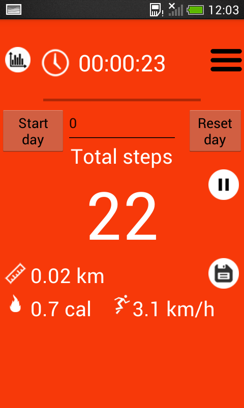 Pedometer and step counter- screenshot