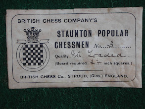 Photo: CH41 - Label to the Staunton Popular Chessmen  You can see (from the top left hand corner) that the label is superimposed on another - it has resisted my mild efforts to get it off; this may be just a glitch of two labels stuck together ab initio, although - as inferred in a later image regarding the boxes stamped rim - there may be a non-Pop. label underneath.  The size quoted (no. 3) would tie in with the the size of this set's chessmen using BCC's size guide as published in its 1891 catalogue - although, as noted by in the BCC guide by Lyons & Deasey, BCC seem to have changed its sizing towards the end of its life.