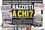 """? Corriere dello Sport reageert met sprekende voorpagina op racistische beschuldigingen: """"Wie is hier racistisch?"""""""