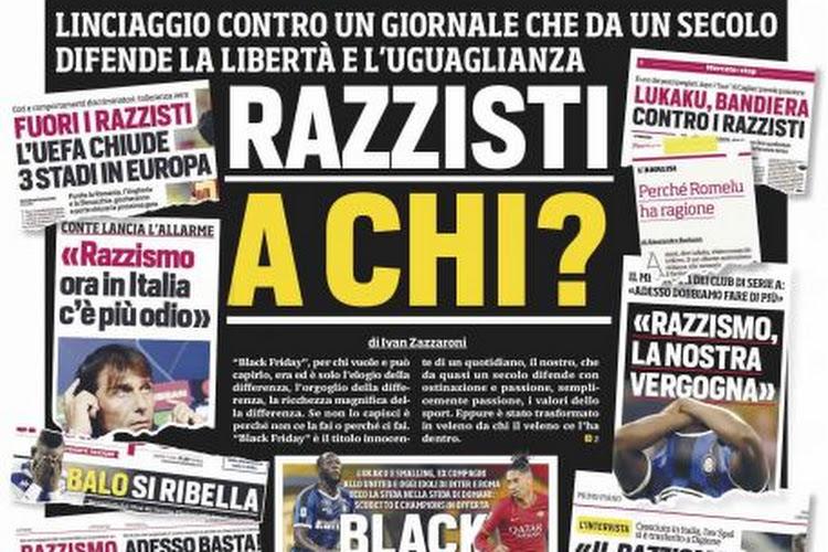 """📷 Corriere dello Sport reageert met sprekende voorpagina op racistische beschuldigingen: """"Wie is hier racistisch?"""""""