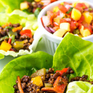 Asian Lettuce Wraps with Mango Habanero Salsa.