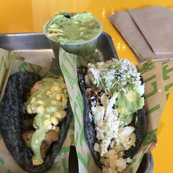 Left: modified grilled chicken taco; Right: ultimate carnitas taco