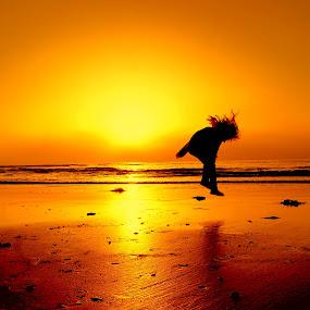 Sunset Jumps by Angel Weller - Babies & Children Children Candids ( water, child, girl, sunset, beach )