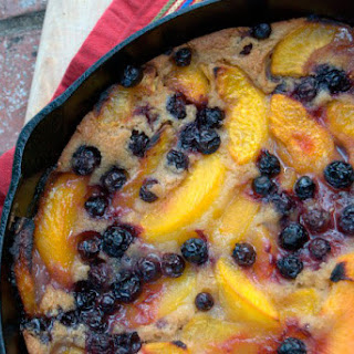 Cast-Iron Skillet Peach and Blueberry Cobbler.