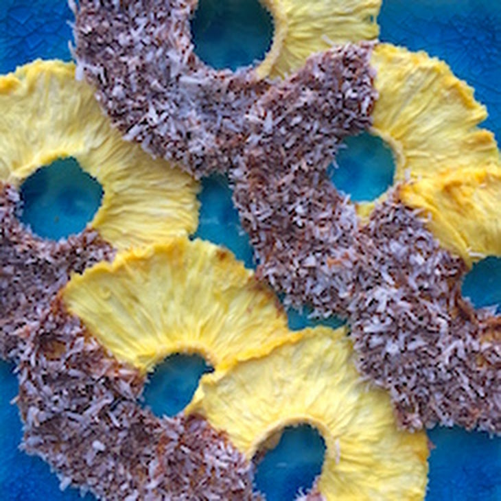 Raw Chocolate Covered Pineapple Rings