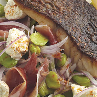 Pan-Fried Fish with Fava Bean and Labne Salad.