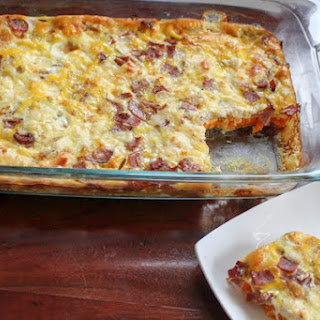 Sweet Potato, Turkey Bacon, And Goat Cheese Egg Bake