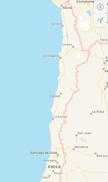 Map of Chile showing our astronomy tour locations in Santiago, La Serena and Calama