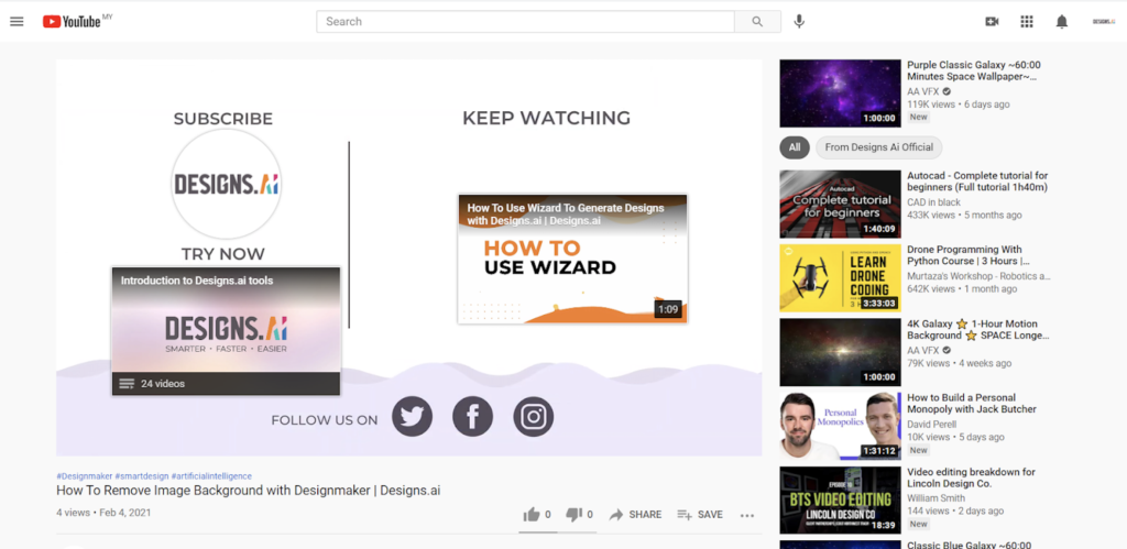 Designs.ai   Must knows to build a quality YouTube channel for your business - Example of YouTube video end screen