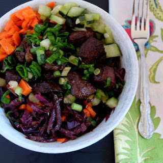 Balsamic Vinegar Red Cabbage Lamb and Spring Onion Bowl