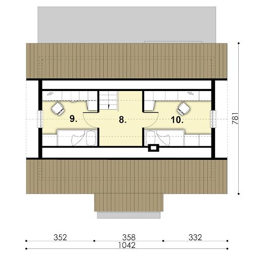 D67 - Paulinka wersja drewniana - Rzut poddasza