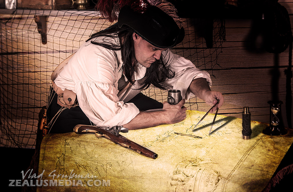 Mutiny magazine publication, 2013 - pirate sailing master (navigator) - Photography by Vlad Grubman / Zealusmedia.com