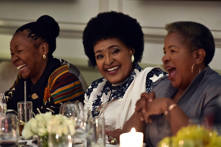 Winnie Madikizela-Mandela share a light moment with Letta Mbuli during her 80th pre-birthday celebrations in Cape Town on in September 2016. Picture: ELMOND JIYANE/GCIS September 14 2016