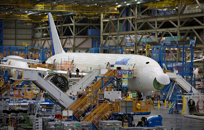 A Boeing 787 sits on the assembly line in Washington in this file photo. Picture: REUTERS