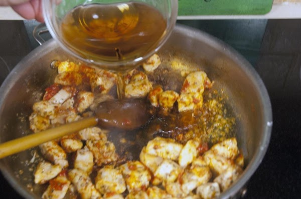 Add the sherry to deglaze the pan.