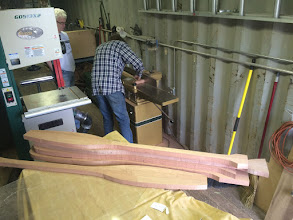 Photo: Jim running the Meranti wood blanks through the Jointer.