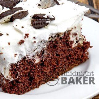 Chocolate Oreo Poke Cake.