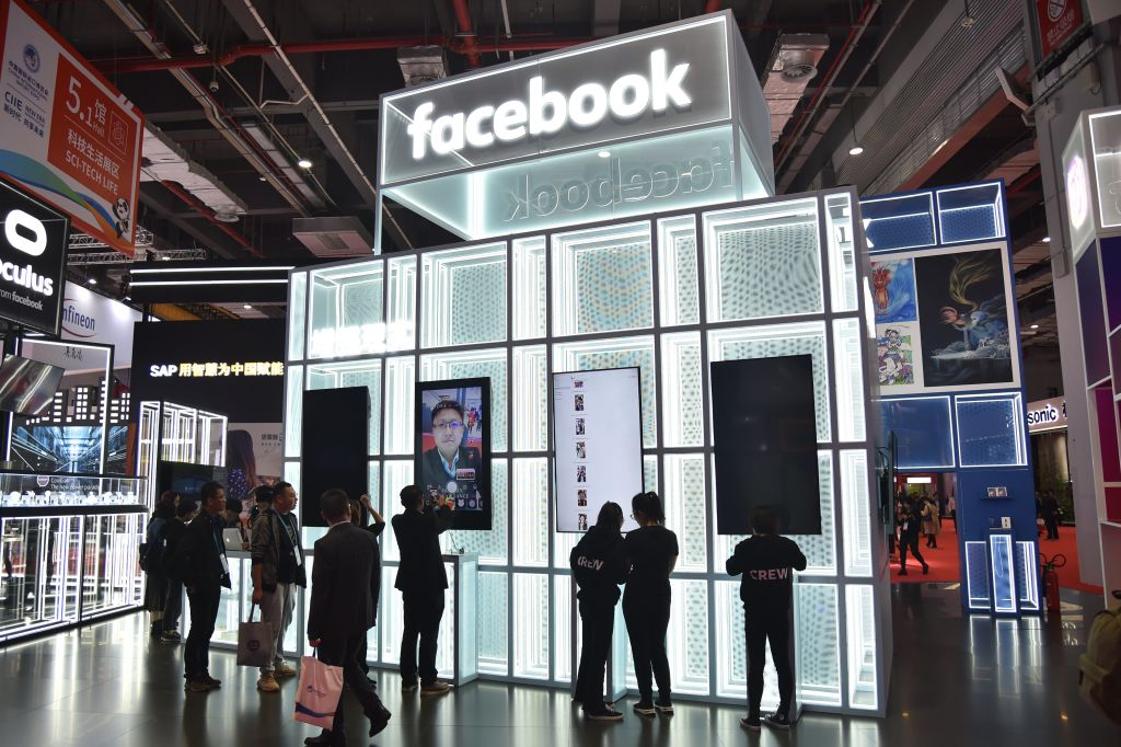 A Facebook stand during the second China International Import Expo in Shanghai on November 6, 2019. Despite the fact that Facebook is banned in China by the CCP, the Party is still responsible for $5 billion of its yearly profit according to the Wall Street Journal.