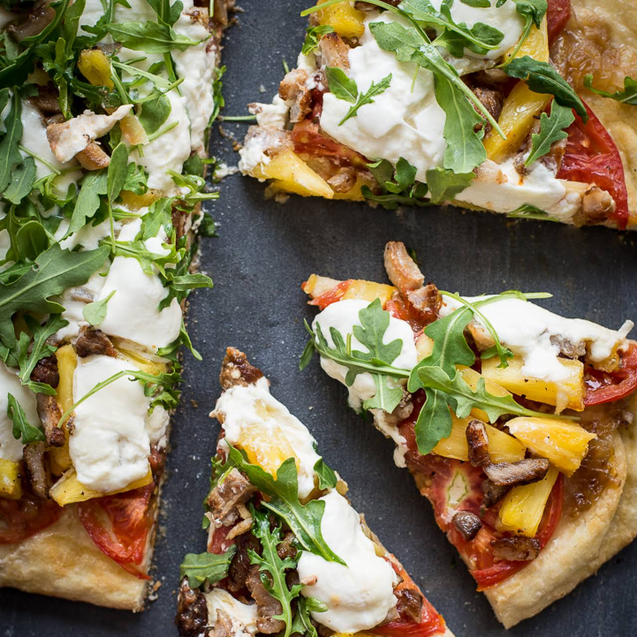 Grilled Pineapple, Crispy Pork Belly, Burrata and Arugula Pizza.