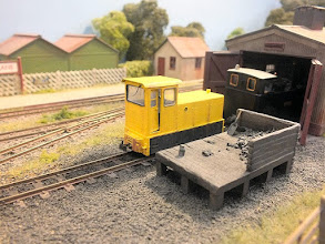 Photo: 019 Maybe an anachronism for a Colonel Stephens railway set in the 1930's but this Narrow Planet ex-RNAD 99hp Baguley-Drewry diesel loco suits the scene very well in my opinion and brings the layout into firm credibility for a time-shift into the year 2015 in a preserved railway setting .