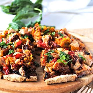 Roasted Vegetable Pizza with Vegan Béchamel + Buckwheat Flour Crust