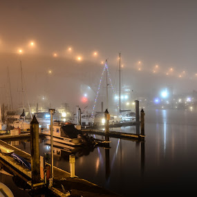 Vancouver marina in the fog by Cory Bohnenkamp - City,  Street & Park  Night ( water, fog, boats, weather, night, marina, vancouver, city,  )
