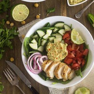 Copy Cat Panera Cilantro Lime Hummus Chicken Power Salad {GF, Low Fat, Low Calorie, Easy + High Protein} Recipe