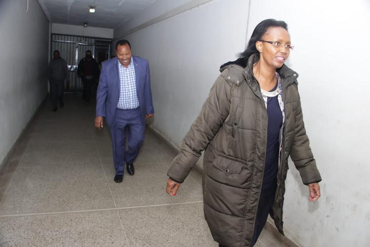 Kiambu Governor Ferdinand Waititu and his wife, Susan Wangari, head to the Milimani law courts on Tuesday, July 30, 2019.