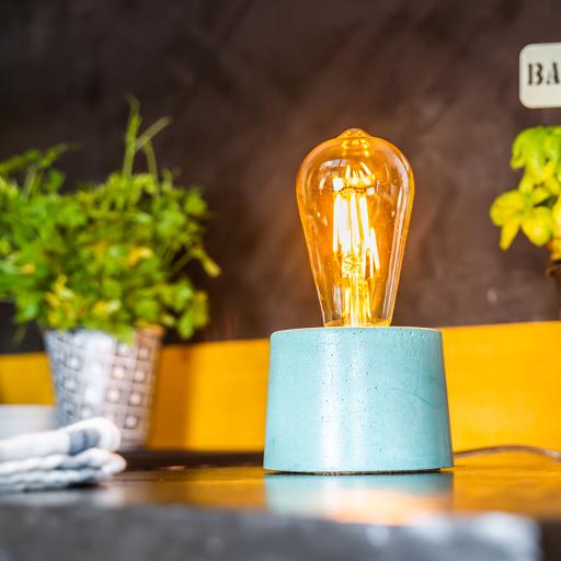 Lampe en béton coloré forme cylindre