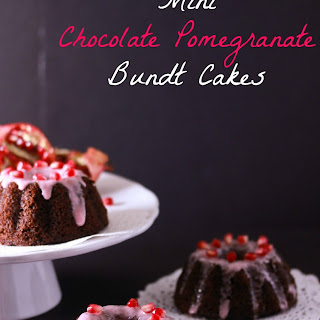 Mini Chocolate Pomegranate Bundt Cakes with Pomegranate Glaze