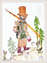 Photo: Findus im Rucksack des Petterson - ausgedacht von Sven Nordqvist, bearbeitet von Hilde. Bildnis aus Blüten unseres Gartens.