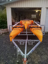 Photo: Future plans will mount a large galvenized tool box length wise between the boats here at the front. It is large enough to hold all boat accessories and more.