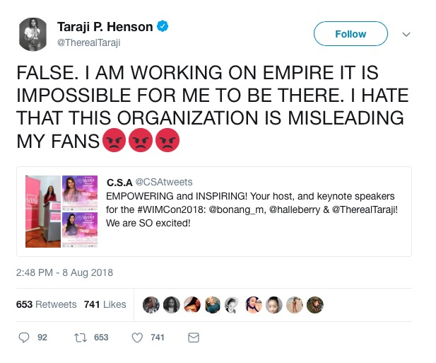 Taraji P.Henson is not headed to SA.