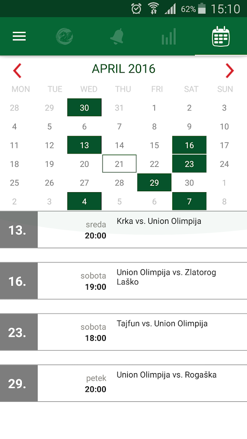 Petrol Olimpija App- screenshot