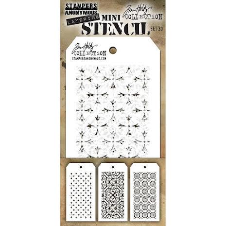 Tim Holtz Mini Layered Stencil Set 3/Pkg - Set 30