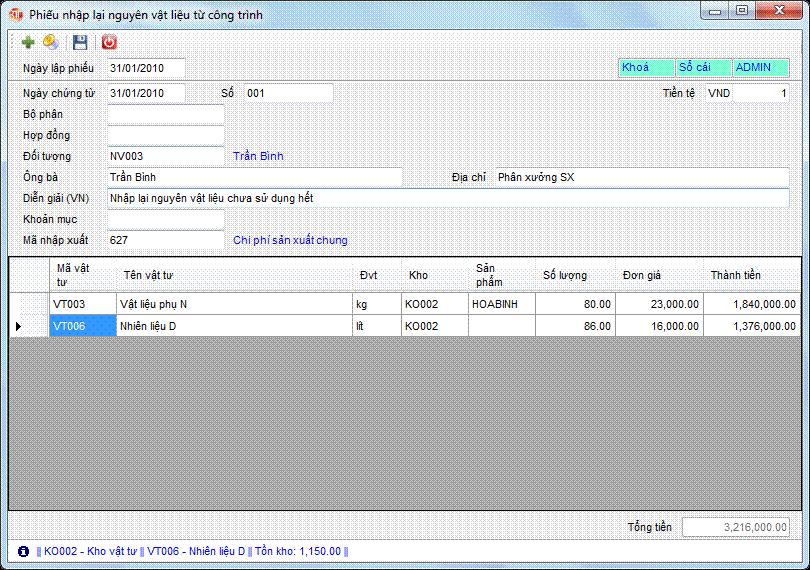 Phiếu nhập lại nguyên vật liệu từ công trình phần mềm kế toán 3tsoft