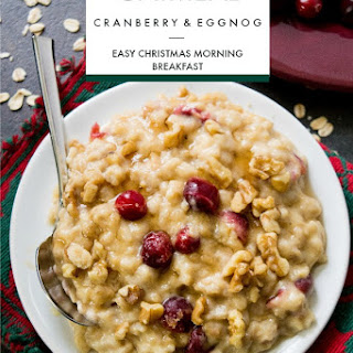 Easy Overnight Cranberry Eggnog Oatmeal.