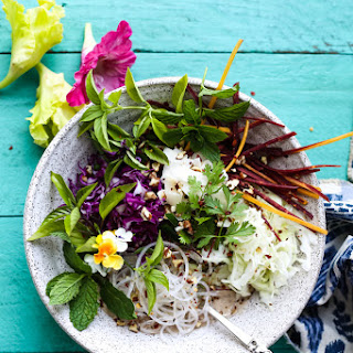Vegetable Noodle Bowls with Creamy Almond Butter Coconut Sauce.