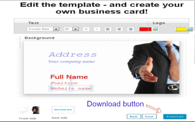 Easy business card creator chrome web store this free business card creator software makes creating a business card a snap reheart Gallery