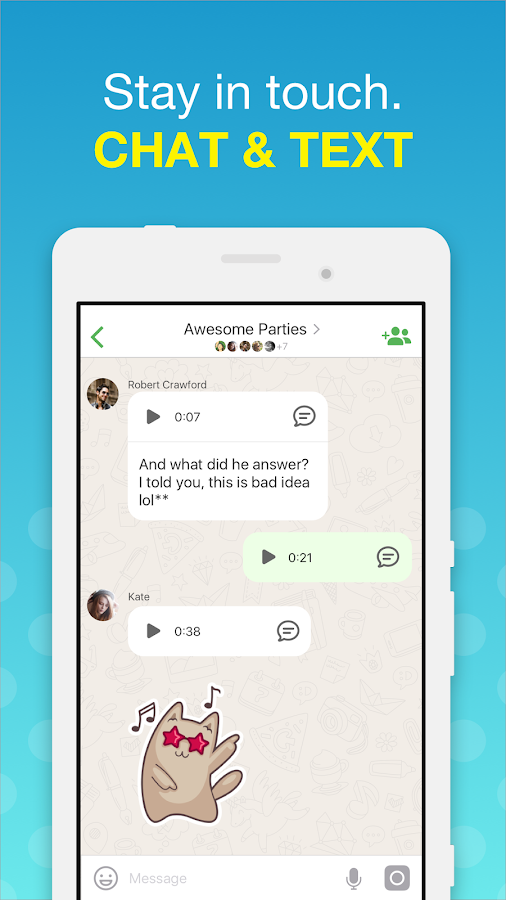 Screenshots of free video calls and chat for iPhone
