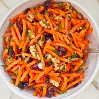 Carrot Slaw with Cranberries, Toasted Walnuts & Citrus Vinaigrette.