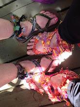 Photo: yep students weave sandal straps on the saori looms too.