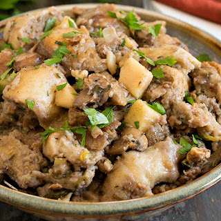Slow Cooker Sourdough Stuffing with Turkey Sausage and Apples.