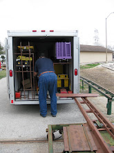 Photo: Richard Osborn getting his loco ready to unload  2009-0227