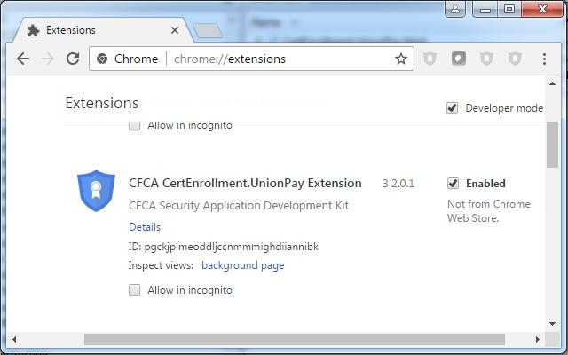 CFCA CertEnrollment.UnionPay Extension