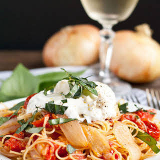 Roasted Tomatoes and Onion Pasta with Burrata.