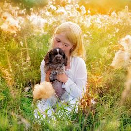 New Puppy by Jude Stewart - Babies & Children Children Candids ( judithstewart, puppy, golden hour, cocker, child,  )